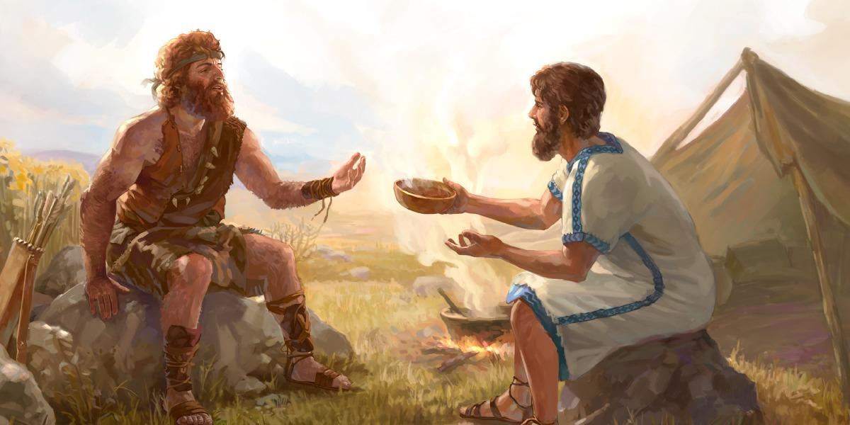 Esaù vende la primogenitura a Giacobbe